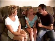 Муж с женой трахают молодую нянечку